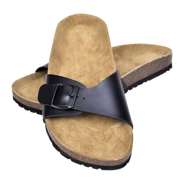 57e593e94a8f Vidaxl - Sandales unisexes noires en liège bio à fermeture à boucle taille  39 - pas cher Achat   Vente Entretien des chaussures - RueDuCommerce