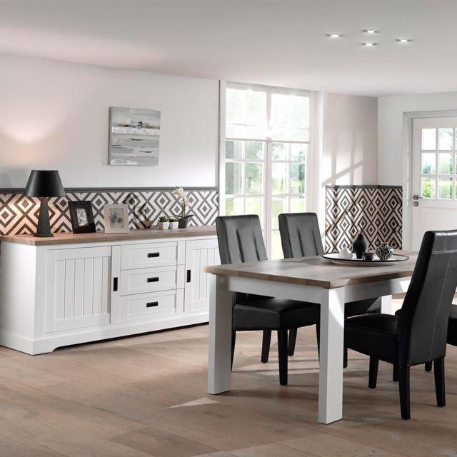 Salle a manger contemporaine blanche et couleur bois Ethan table 160