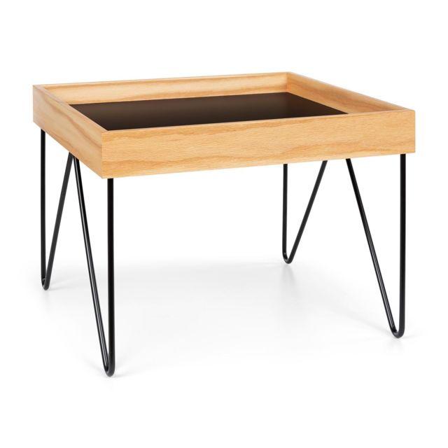 BESOA Big Lyon Table basse plateau MDF structure acier plaqué bois de chêne noir