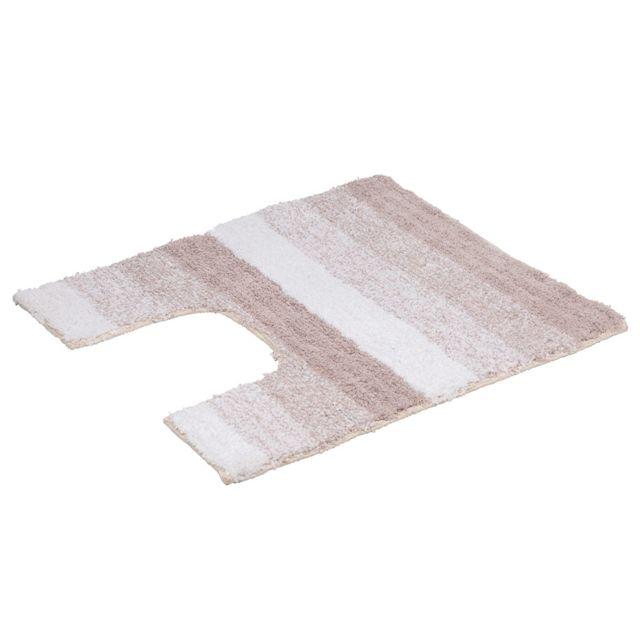 douceur d 39 interieur tapis contour wc 50x50 rayures taupe pas cher achat vente tapis. Black Bedroom Furniture Sets. Home Design Ideas
