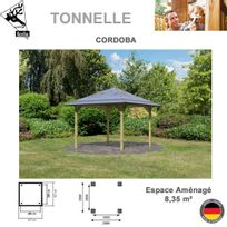 Karibu - Cordoba kit avec plancher et balustrade traité en autoclave surface Ht 12,74 m2