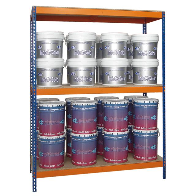 Jomasi Étagère métallique modulaire. Modèle J600. Dim : H 2000 x L 1500 x P 600. 3 Niveaux. Bleu/Orange. Livré démonté