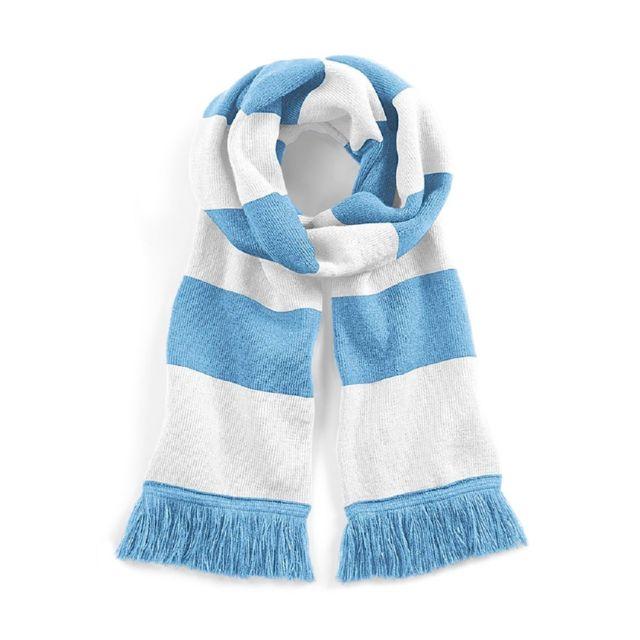 4c61eda4a6202 Beechfield - Longue écharpe rayée - B479 - bleu clair et blanc - pas ...