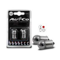 Adnauto - 2 Ampoules Ba15S Chromees - 12V - 5W - Eclairage Rouge - plots alignes - Feux