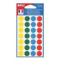Agipa - Pastilles adhésives Ø 15 mm 100625 couleurs assorties - Pochette de 140