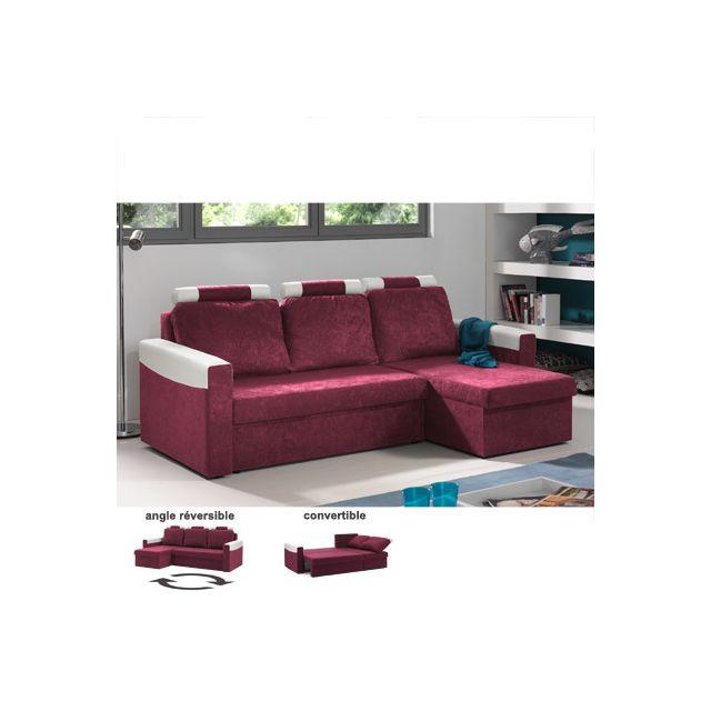 Canapé d'angle réversible convertible rouge cerise et blanc Sami
