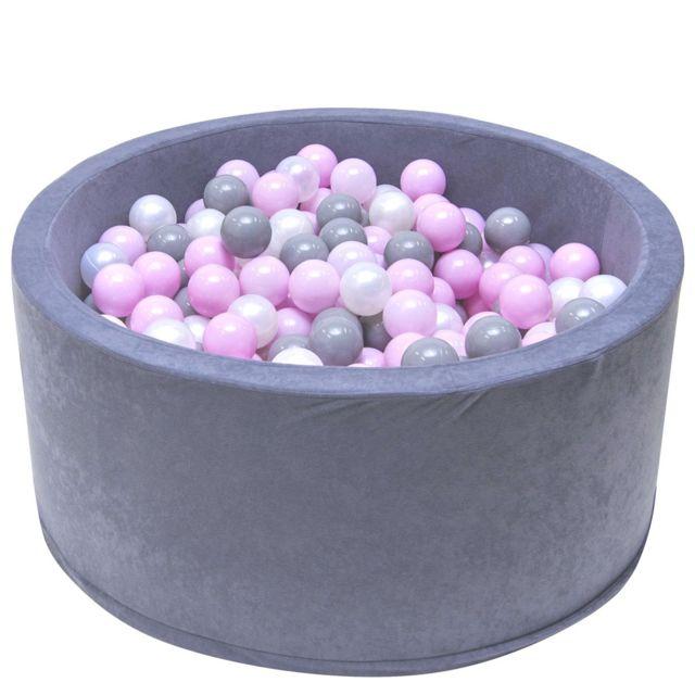 Welox Piscine 200 balles Ø 90 cm pour bébé Gris Balles roses
