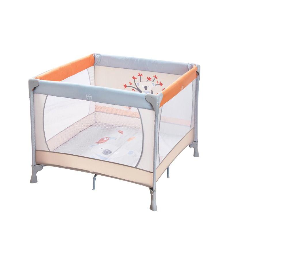 Lit parc carré bébé KOALA - 95 x 95 cm - Gris