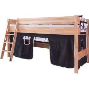 comforium lit mi hauteur enfant 90x200 avec tente de jeu design pirates marron nccm x nccm. Black Bedroom Furniture Sets. Home Design Ideas