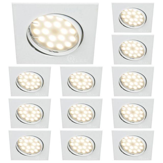 Lampesecoenergie Lot De 12 Spot Encastrable Orientable Carre Led Smd Gu10 230V Blanc Rendu Environ 50W Halogene