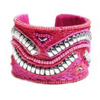 So Chic Bijoux - Bracelet Manchette Rigide Femme Perles Rocaille Verre Multicolore Rose Argenté