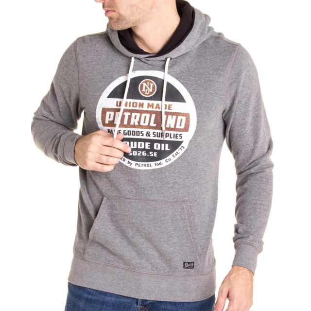 2ade6756fadc3 Petrol Industries - Sweat gris à capuche homme Swh300 de marque avec  imprimé vintage