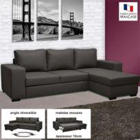 - Canapé d'angle réversible convertible en Pu coloris noir - Stewart