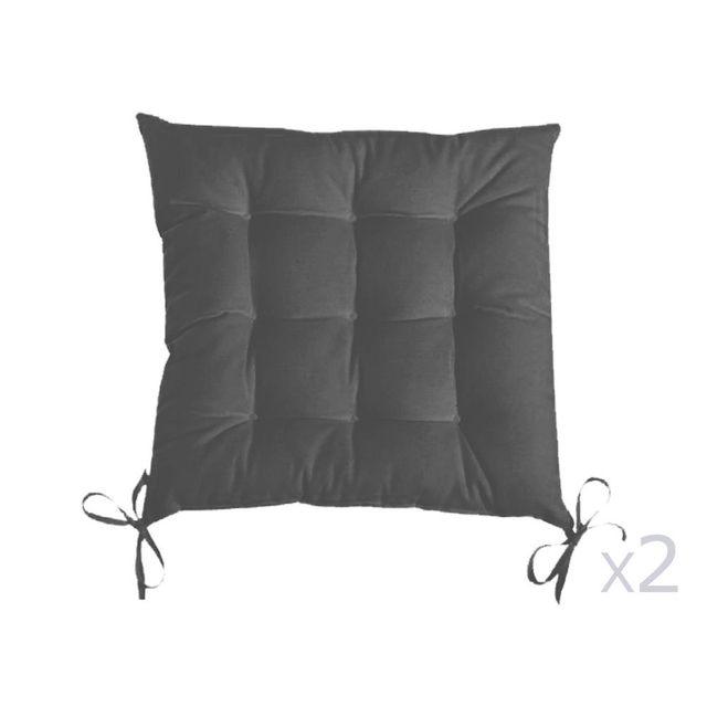 Dhf Galette de chaise unie 9 capitons 100% coton 38x38cm nouettes - lot de 2 Romeo - Gris métal