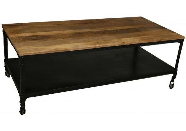 Declikdeco Table basse industrielle à roulettes en bois Movea