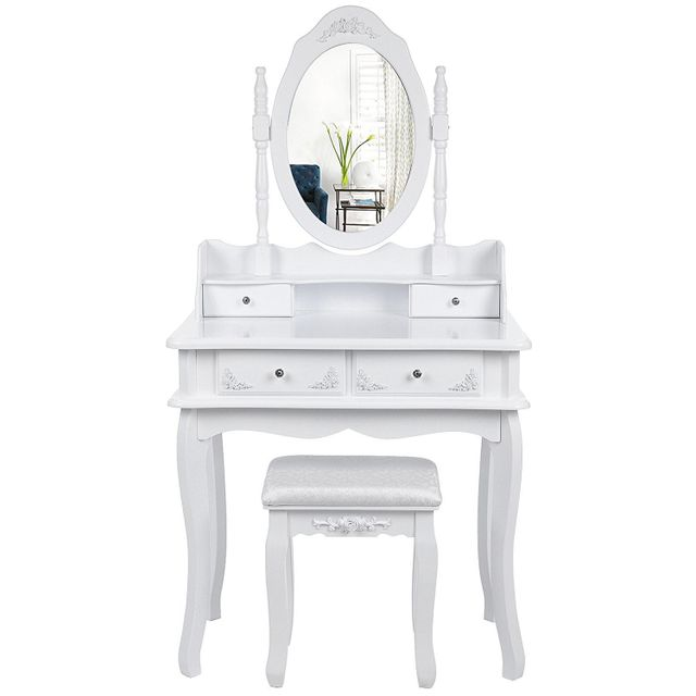 Rocambolesk - Superbe Coiffeuse de maquillage murale avec un tabouret et un  miroir 4 tiroirs blanc 67271b9316d9