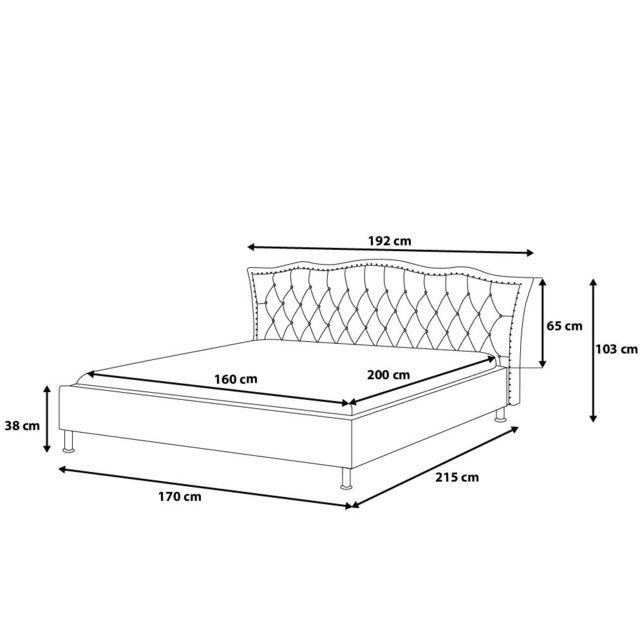 BELIANI - Lit design en cuir - lit double 160x200 cm - blanc - sommier avec rangement inclus - Metz 160cm x 200cm