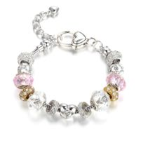Blue Pearls - Bracelet Charm's Rose Clair Cristal de Swarovski Elements et Plaqué Rhodium - Cry E135 J