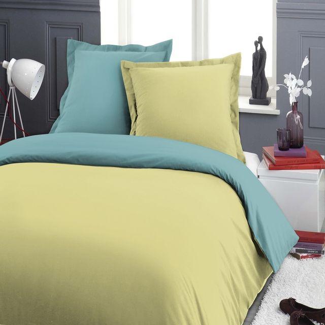 marque generique housse de couette 240x260cm 2 taies bicolore vert et turquoise 260cm x. Black Bedroom Furniture Sets. Home Design Ideas