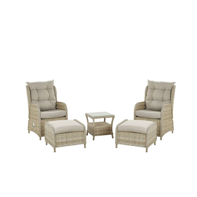 BELIANI Set de terrasse table et 2 fauteuils en rotin beige PONZA