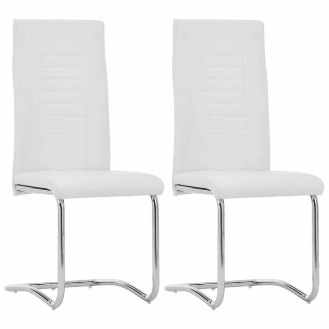 Joli Fauteuils et chaises serie Bruxelles Chaises de salle à manger 2 pcs Blanc Similicuir
