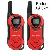 Yonis - Set Talkie walkie push to talk portée 3-5 km écran Lcd 8 canaux Rouge