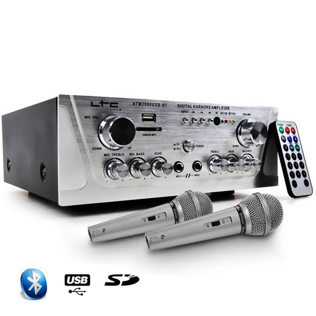 Ltc Audio Amplificateur Hifi Stéréo Karaoke Usb/BLUETOOTH/SD 100W + 2 Microphones noir