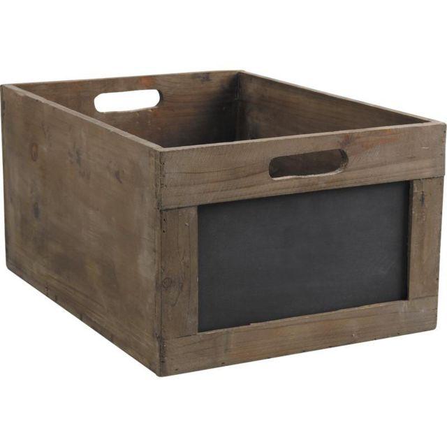 aubry gaspard caisse de rangement en bois avec ardoise marron 23cm x 35cm x pas. Black Bedroom Furniture Sets. Home Design Ideas