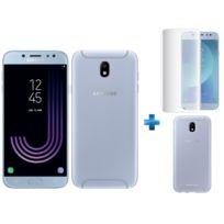 Samsung - Galaxy J7 2017 - Bleu + Coque de protection souple pour Galaxy J7 2017 Bleu + Verre trempe Galaxy J7 2017 Transparent
