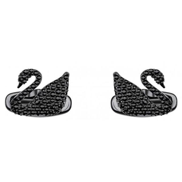 Swarovski Boutons de Manchettes Bijoux 5427129 - Acier Noir Cristaux Femme