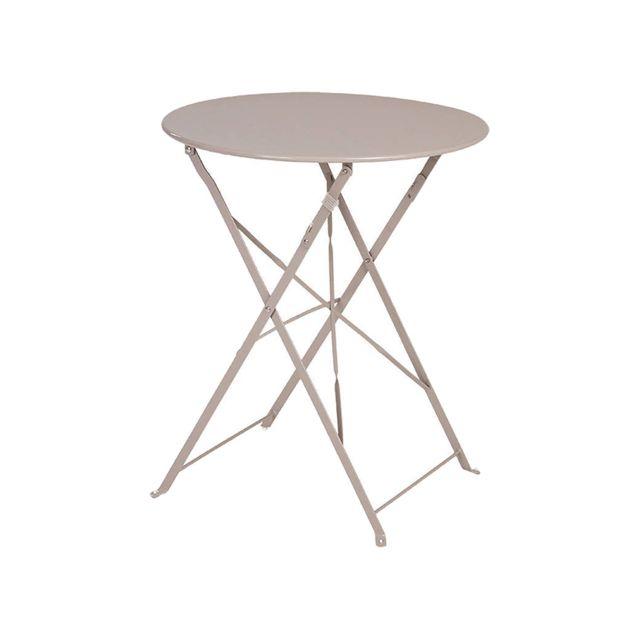 Table de jardin ronde Camargue Ø 60 cm Taupe