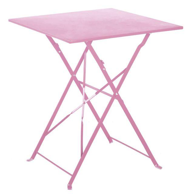 Table de jardin pliante en acier coloris chamallow - Dim : 60 x 60 x 70cm