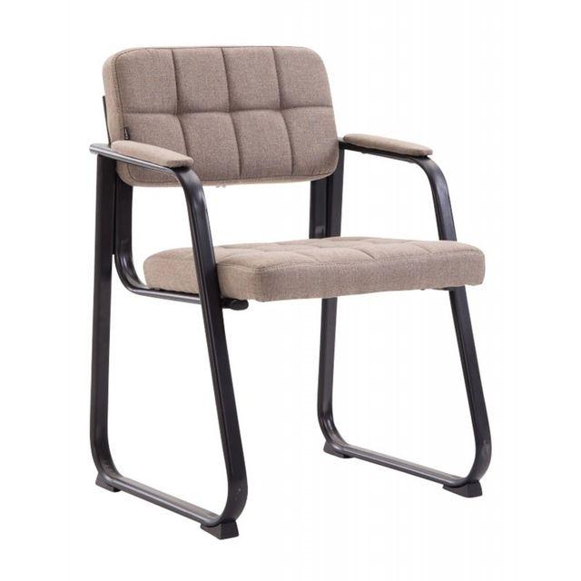 Chaise visiteur fauteuil de bureau sans roulette en tissu taupe Bur10221