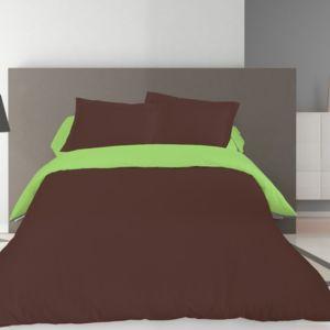 100pourcentcoton housse de couette 220x240 cm bicolore choco anis 2 taies d 39 oreiller 63x63. Black Bedroom Furniture Sets. Home Design Ideas