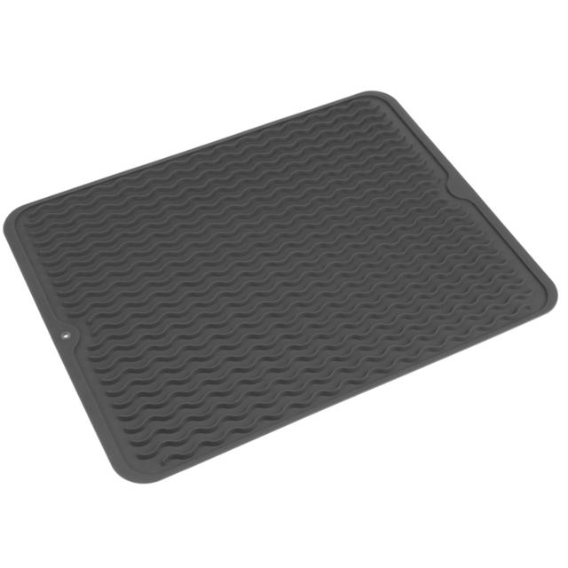 Primematik Tapis de séchage vaisselle en Silicone 405x307 mm gris