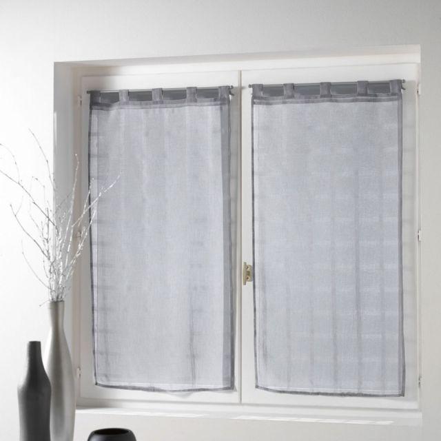 paris prix paire de voilages candide 60x90cm gris pas cher achat vente rideaux. Black Bedroom Furniture Sets. Home Design Ideas