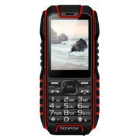 Konrow - Stone - Téléphone Antichoc - 2.4'' - Double Sim - Noir / Rouge