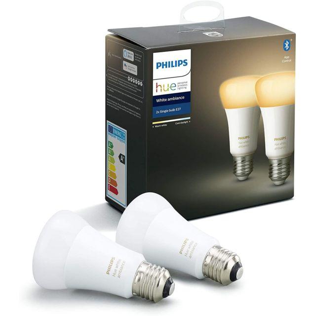 PHILIPS HUE - Lot de 2 White Ambiance - Pack de 2 ampoules 8.5W E27