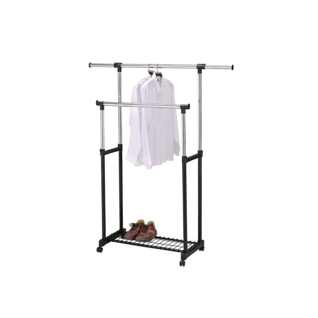 Portant extensible double barre gris acier spaceo x - Portant leroy merlin ...