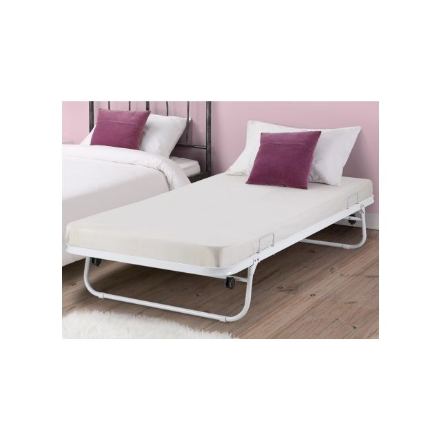 marque generique lit sommier d 39 appoint pliant adonis 90x190 cm m tal blanc pas cher. Black Bedroom Furniture Sets. Home Design Ideas