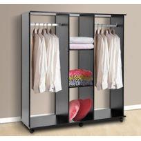 HOMCOM - Armoire penderie meuble de rangement en panneau de particule mobile avec 6 roulettes sans porte 120x40x128cm noir 01