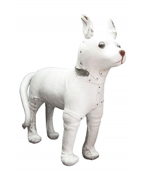 Decoshop Statuette figurine chien blanc en résine 34 cm