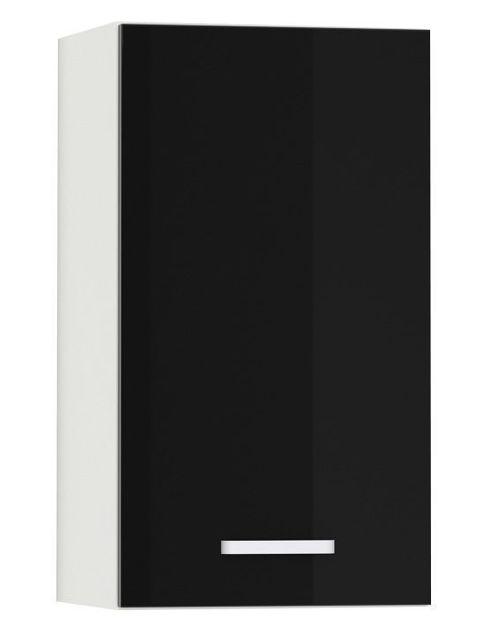 Comforium Meuble haut de cuisine design 40 cm avec 1 porte coloris blanc mat et noir laqué