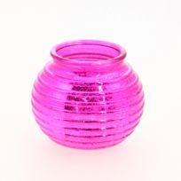 Comptoir des bougies - Photophore strié Amphore - Fuchsia