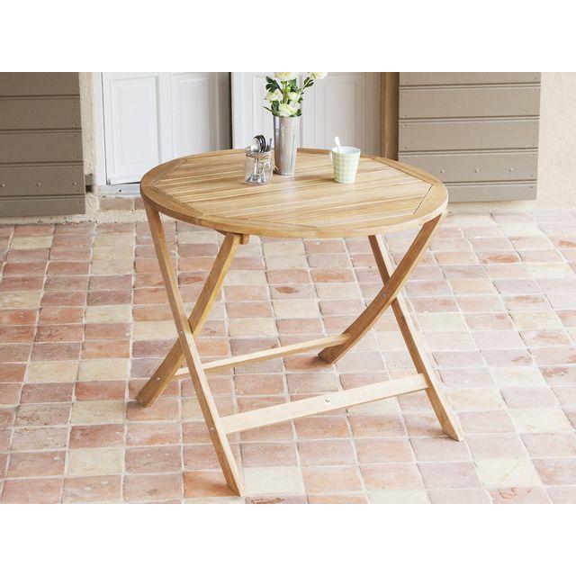 Les Essentiels by Dlm - Table de jardin ronde en Acacia 90cm ...