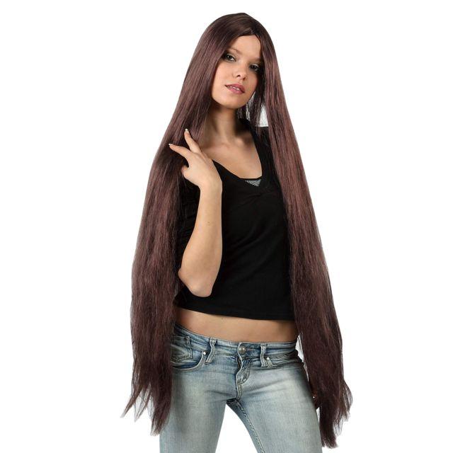 Sans - Perruque extra longue châtain adulte - taille - Taille Unique -  174290 550a439877f