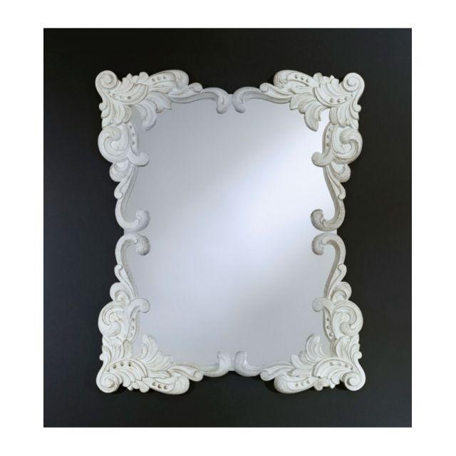 Deknudt Mirrors Miroir Anna White Gothique Rectangulaire Blanc 92x110 cm