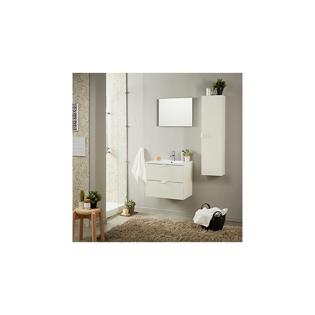 Ensemble vasque 2 tiroirs et miroir blanc brillant
