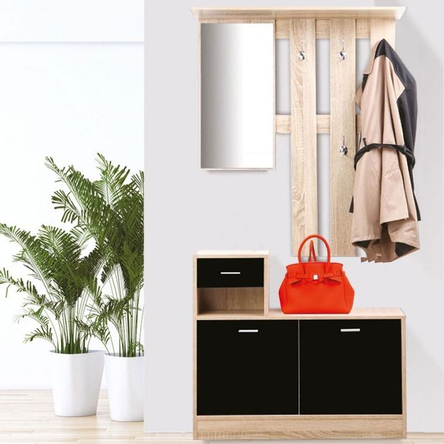 Idmarket - Vestiaire d\'entrée avec miroir design hêtre portes noires ...
