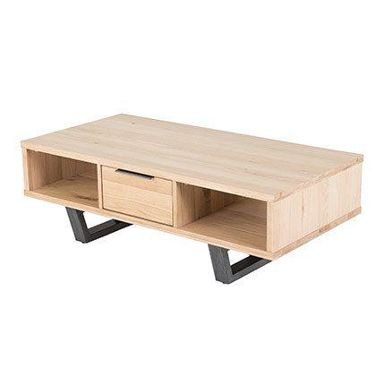 Table basse 1 tiroir 120x60x40cm chêne et métal - Paxy